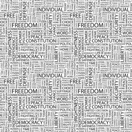 rightness: FREEDOM. Seamless pattern with word cloud. Illustration with different association terms. Stock Photo