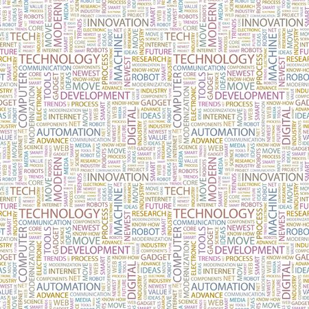 TECHNOLOGY. Seamless background. Wordcloud illustration.   illustration
