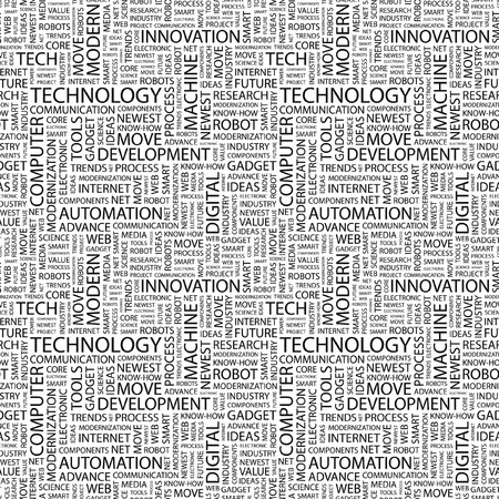 TECHNOLOGY. Seamless pattern with word cloud. Illustration with different association terms. Stock Illustration - 7991642