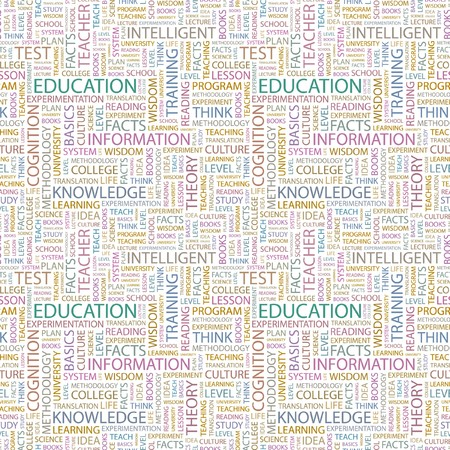 EDUCATION. Seamless pattern with word cloud. Illustration with different association terms. Stock Illustration - 7991632