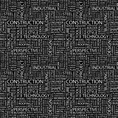 CONSTRUCTION. Seamless pattern with word cloud. Illustration with different association terms. Stock Illustration - 7991641