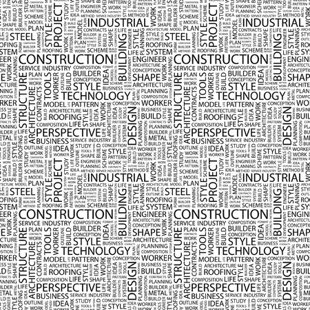 CONSTRUCTION. Seamless background. Wordcloud illustration.   illustration