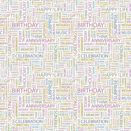 BIRTHDAY. Seamless pattern with word cloud. Illustration with different association terms.