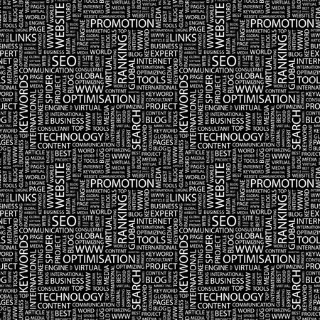 SEO. Seamless background. Wordcloud illustration.     illustration