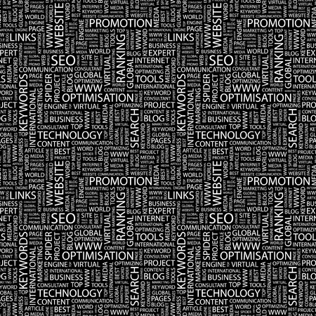 SEO. Seamless background. Wordcloud illustration.     illustration