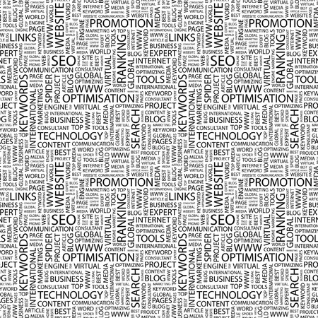 keywords link: SEO. Seamless pattern with word cloud. Illustration with different association terms. Stock Photo