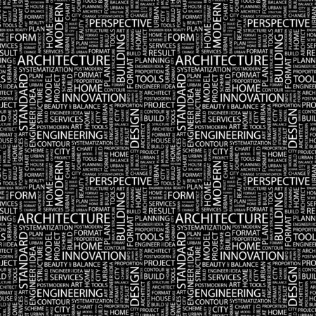 ARCHITECTURE. Seamless pattern with word cloud. Illustration with different association terms. Stock Illustration - 7995192