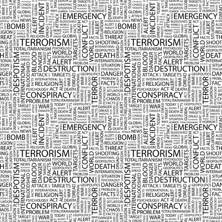 patriot act: TERRORISM. Seamless pattern with word cloud. Illustration with different association terms. Stock Photo