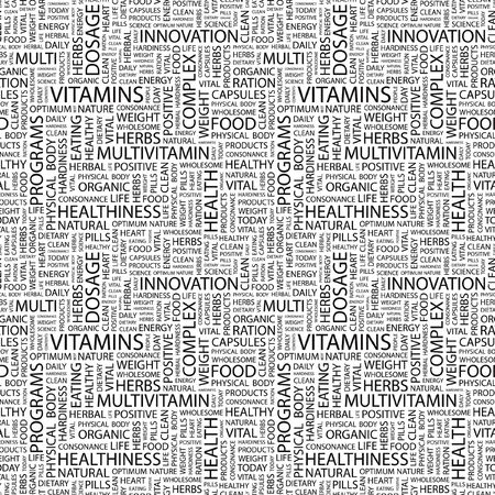 salubrity: VITAMINS. Seamless pattern with word cloud. Illustration with different association terms. Stock Photo