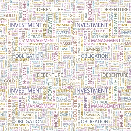 INVESTMENT. Seamless pattern with word cloud. Illustration with different association terms. Stock Illustration - 7995187