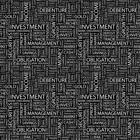 installment: INVESTMENT. Seamless pattern with word cloud.