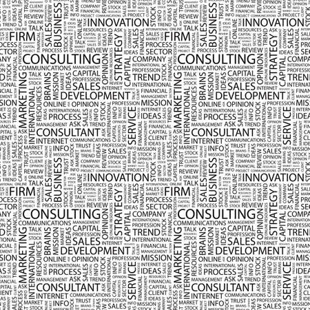 CONSULTING. Seamless pattern with word cloud.   photo