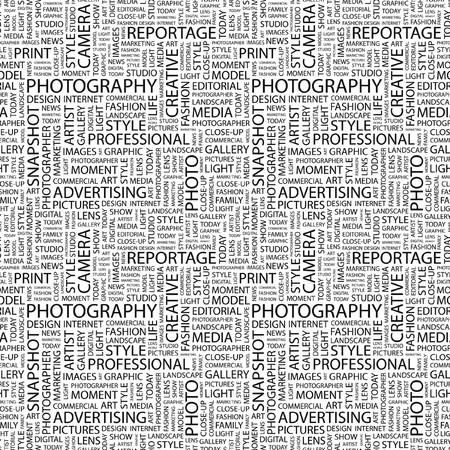PHOTOGRAPHY. Seamless background. Wordcloud illustration.   illustration