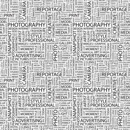 photoshop: PHOTOGRAPHY. Seamless background. Wordcloud illustration.