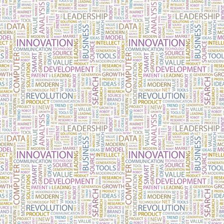 INNOVATION. Seamless background. Wordcloud illustration.   illustration