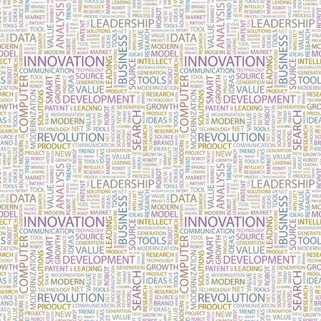 INNOVATION. Seamless background. Wordcloud illustration.   illustration