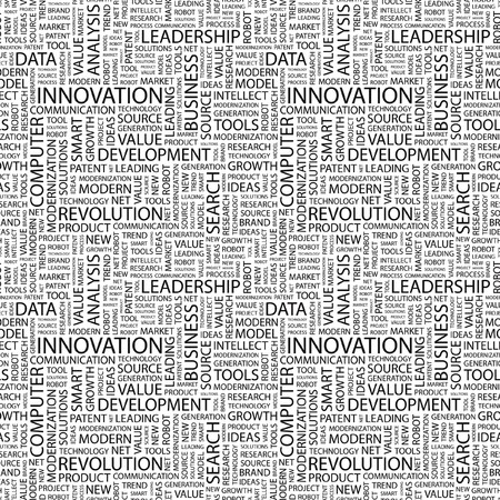 more information: INNOVATION. Seamless pattern with word cloud. Illustration with different association terms.