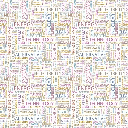 ENERGY. Seamless pattern with word cloud.