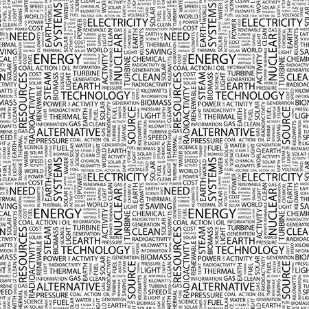 ENERGIE. Seamless Pattern mit Wort-Wolke. Illustration mit verschiedenen Association Begriffen.