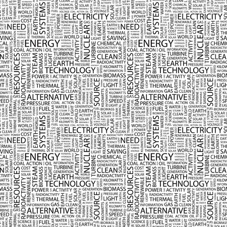 renewables: ENERGY. Seamless pattern with word cloud. Illustration with different association terms. Stock Photo