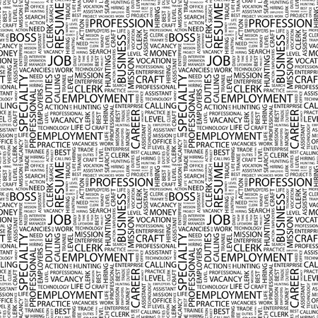 JOB. Seamless pattern with word cloud. Illustration with different association terms. Stock Illustration - 7995199
