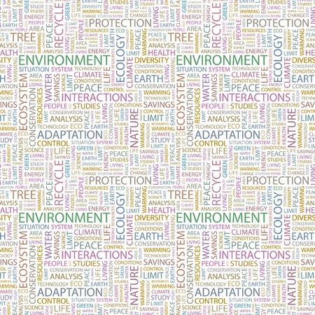 ENVIRONMENT. Seamless pattern with word cloud. Illustration with different association terms. illustration