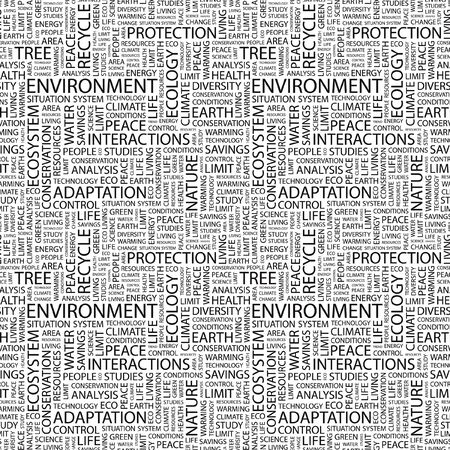 ENVIRONMENT. Seamless background. Wordcloud illustration.   illustration