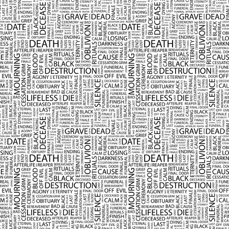 DEATH. Seamless pattern with word cloud.   photo
