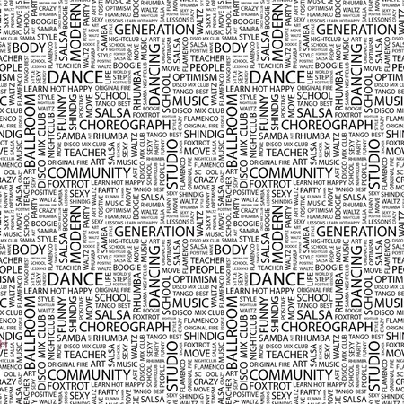DANCE. Seamless pattern with word cloud. Illustration with different association terms. illustration