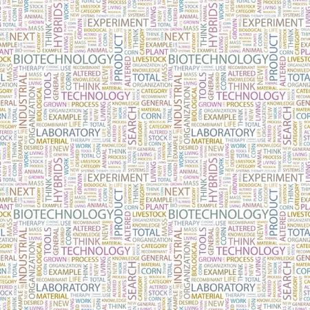 BIOTECHNOLOGY. Seamless pattern with word cloud. Illustration with different association terms. Stock Illustration - 7995179