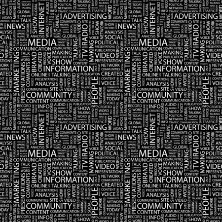 marketing mix: MEDIA. Seamless background. Wordcloud illustration.