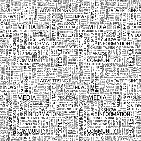 MEDIA. Seamless pattern with word cloud. Illustration with different association terms. illustration