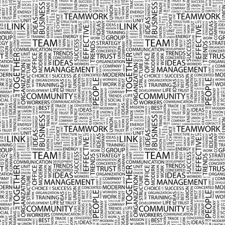 concerted: TEAM. Seamless pattern with word cloud. Illustration with different association terms.