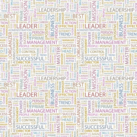 transactional: LEADER. Seamless pattern with word cloud. Illustration with different association terms.