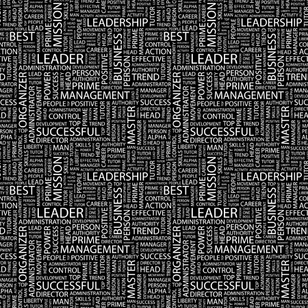 kingpin: LEADER. Seamless pattern with word cloud.
