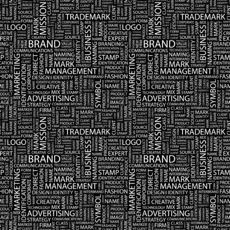 interbrand: BRAND. Seamless pattern with word cloud. Illustration with different association terms.