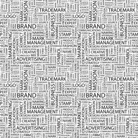 interbrand: BRAND. Seamless pattern with word cloud.   Stock Photo