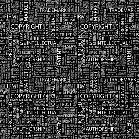 COPYRIGHT. Seamless pattern with word cloud.   photo