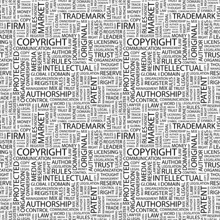 COPYRIGHT. Seamless pattern with word cloud. Illustration with different association terms. illustration