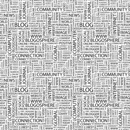 BLOG. Seamless pattern with word cloud. Illustration with different association terms. Stock Photo
