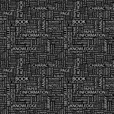 monograph: BOOK. Seamless pattern with word cloud.   Stock Photo
