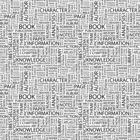 BOOK. Seamless background. Wordcloud illustration. Stock Illustration - 8239028