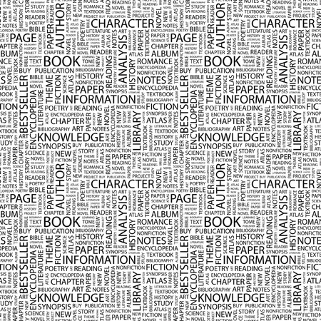 BOOK. Seamless background. Wordcloud illustration.   illustration