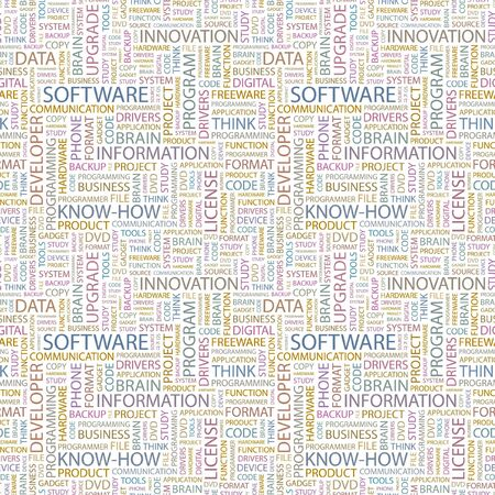 SOFTWARE. Seamless background. Wordcloud illustration.   illustration