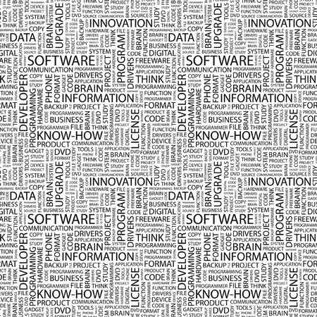 os: SOFTWARE. Seamless background. Wordcloud illustration.