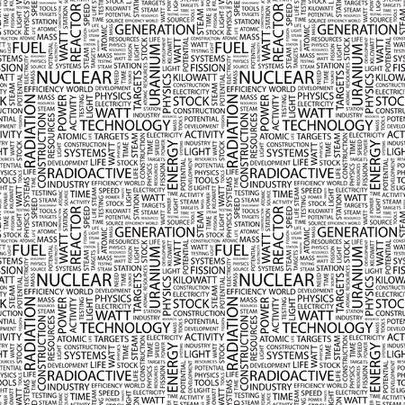 NUCLEAR. Seamless pattern with word cloud.   photo