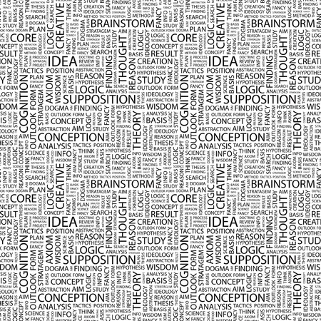 rationalism: IDEA. Seamless pattern with word cloud.