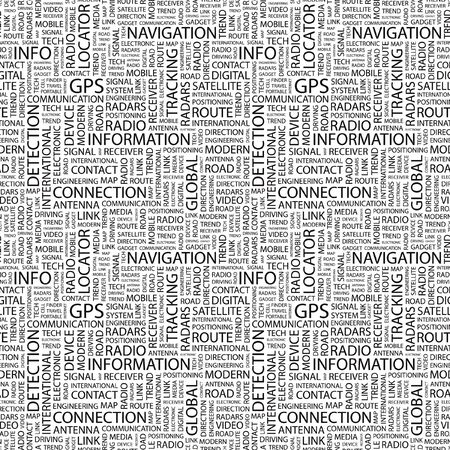 GPS. Seamless background. Wordcloud illustration.   illustration