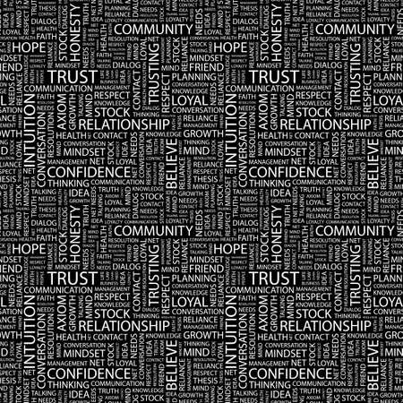 TRUST. Seamless background. Wordcloud illustration.   illustration
