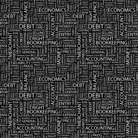 indebtedness: DEBIT. Seamless background. Wordcloud illustration.